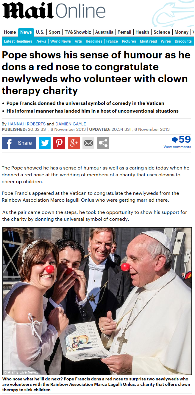 Daily Mail online - Pope shows his sense of humour as he dons a red nose to congratulate newlyweds who volunteer with clown therapy charity