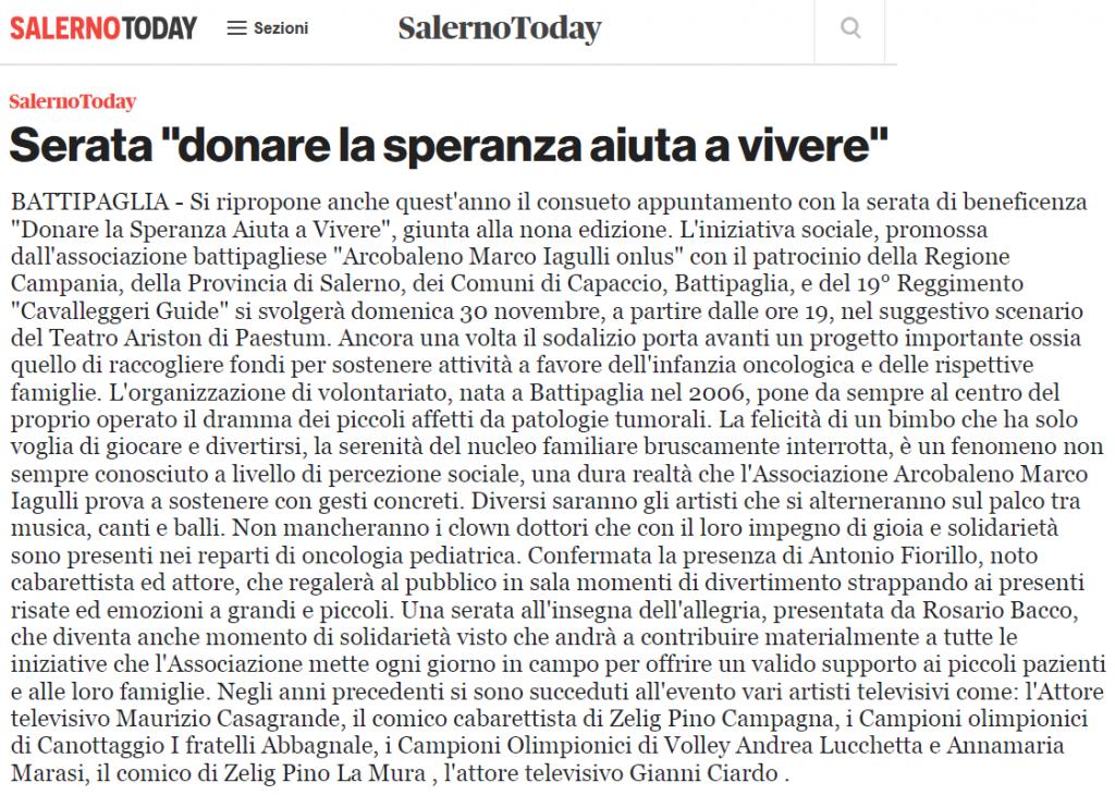 Donare la Speranza aiuta a vivere 2014 - Salerno Today