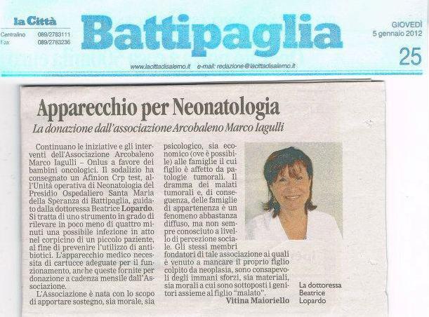 La città - Donazione apparecchiatura diagnostica in neonatologia