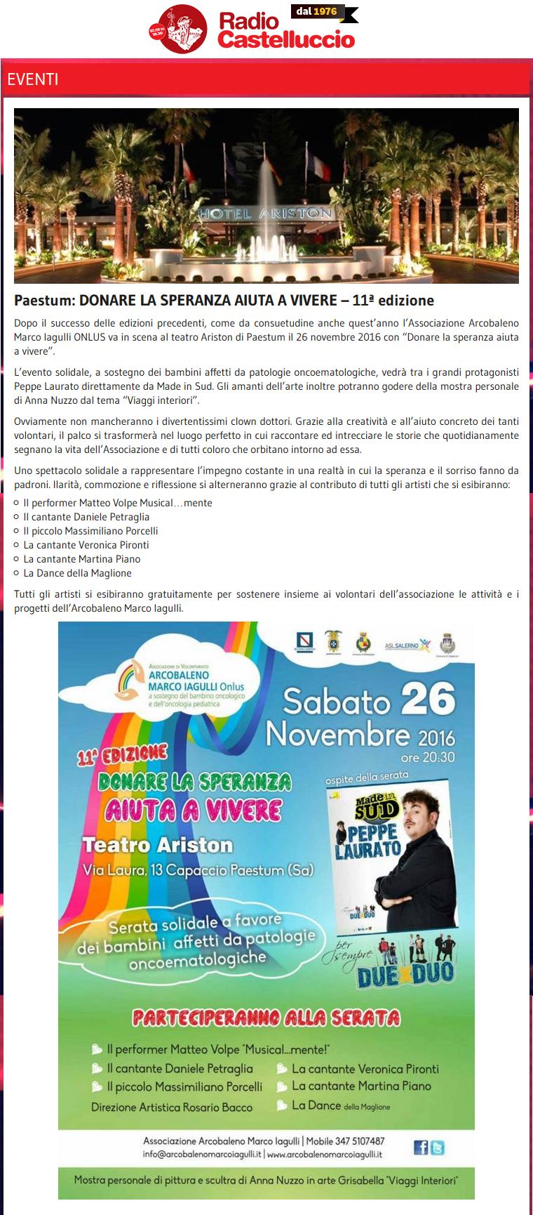Radio Castelluccio - Donare la Speranza 2016