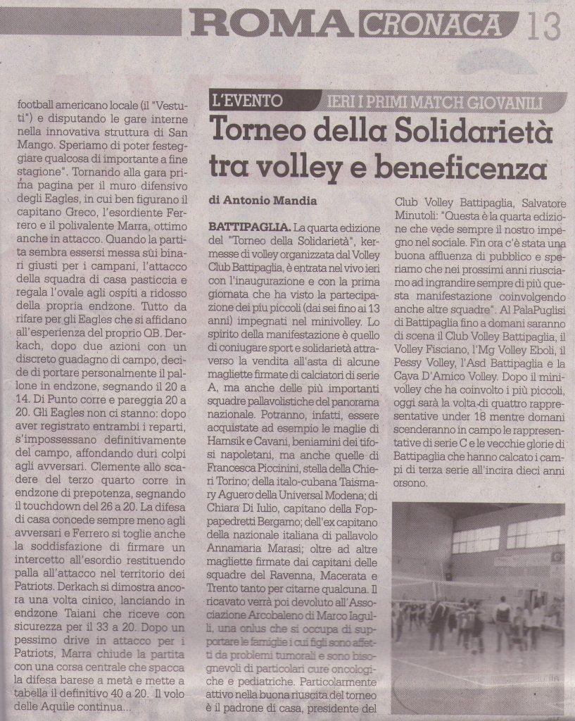 Roma - Torneo della Solidarietà tra volley e beneficenza