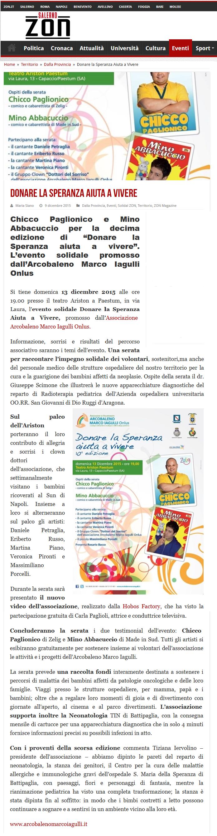 Salerno ZON zerottonove - Donare la Speranza 2015