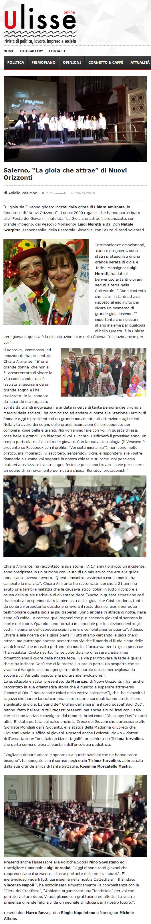 """Ulisse online - Salerno, """"La gioia che attrae"""" di Nuovi Orizzonti"""