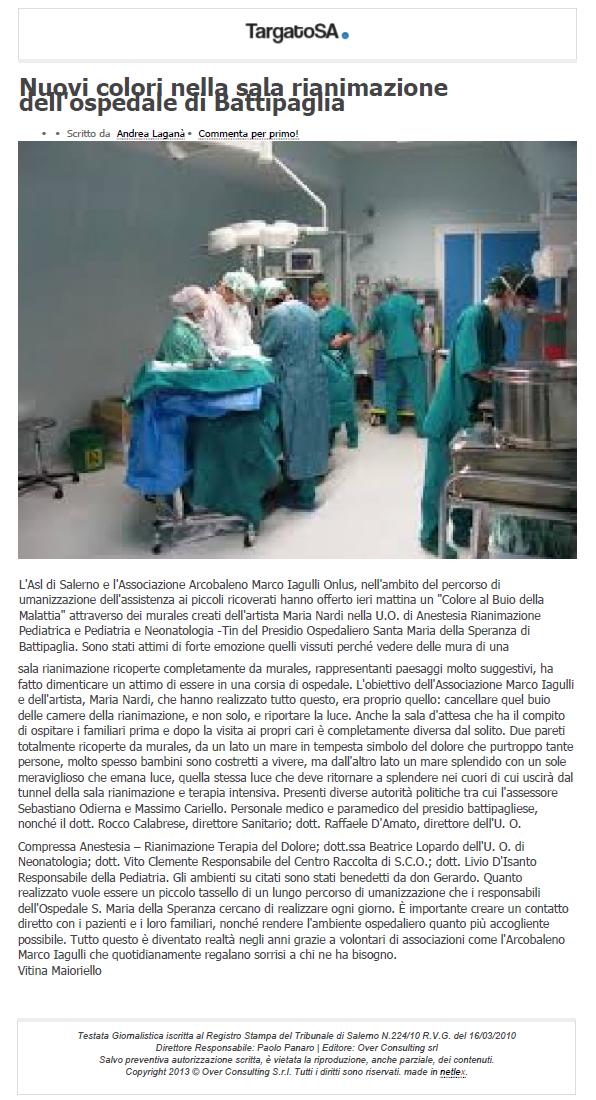 targatoSA - Nuovi Colori nella sala rianimazione dell'Ospedale di Battipaglia